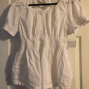 White linen short sleeve top